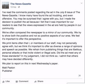Response from the editor of the News-Gazette regarding the personal advertisement placed by Raymond Agnor.