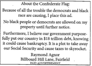This ad was placed in the Lexington, VA News-Gazette local paper.